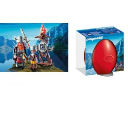 BOITE NEUVE Playmobil 9209 - Vikings avec Bouclier Cadeau OEUF Rouge