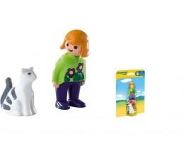 BOITE NEUVE Playmobil 1.2.3 Playmobil 6975 - FILLE AVEC CHAT